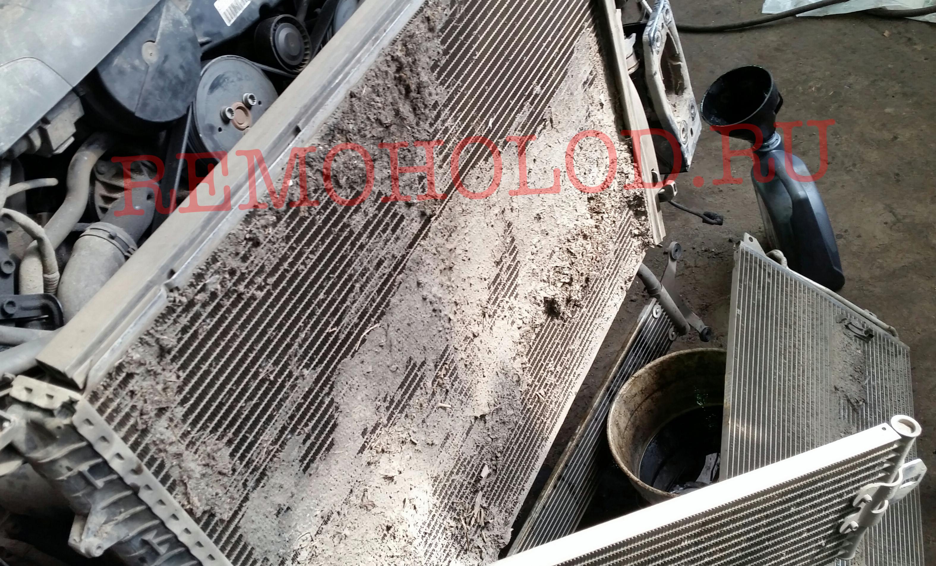 Вот что было у него между радиаторами. А ведь человек ездил обслуживаться к дилерам! Как выясняется, дилерам глубоко наплевать на машины клентов! -))